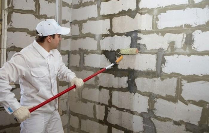грунтование стен из газобетона
