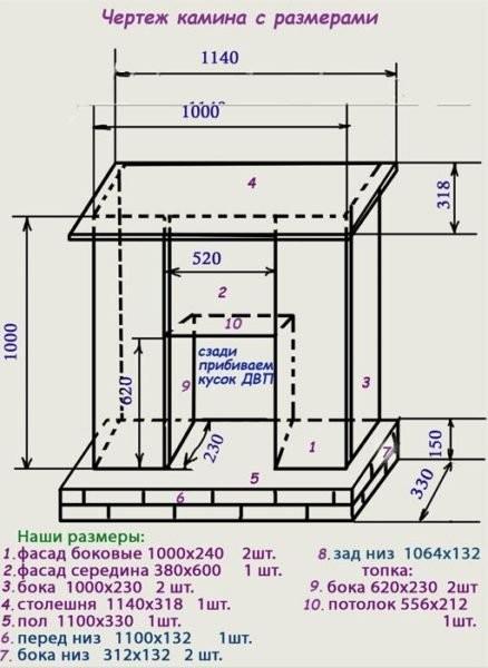 7. Детальный чертеж с размерами простого в исполнении камина из гипсокартонных листов.jpg